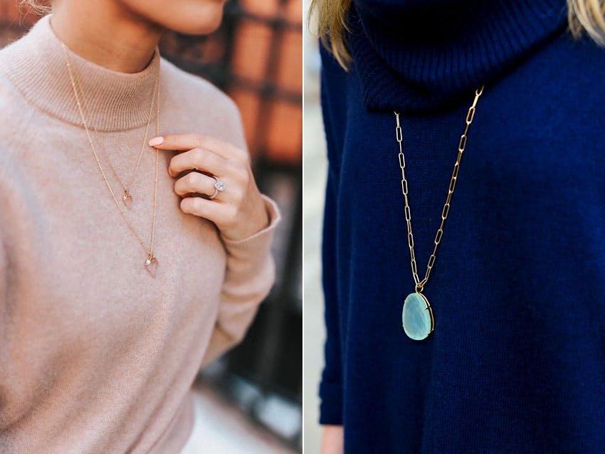 毛衣 毛衣穿搭 飾品 項鍊 金色項鍊 金項鍊