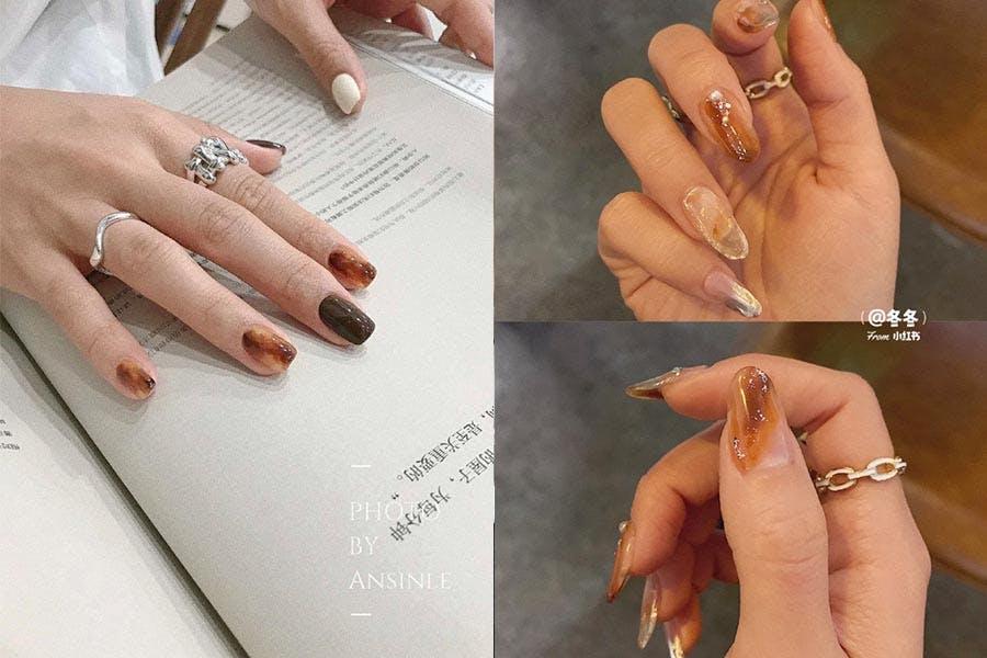 琥珀 美甲 咖啡色 焦糖色 紅棕色 指甲彩繪|美周報