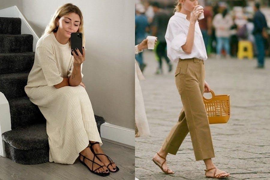涼鞋 夏日穿搭 復古穿搭 平底鞋